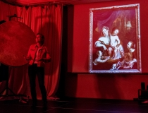 Im Herzog-Anton-Ulrich Museum sponnen die SchülerInnen rund um zwei Gemälde - hier (unten im Bild) Ingeborg, nacherzählt von Dorothea.